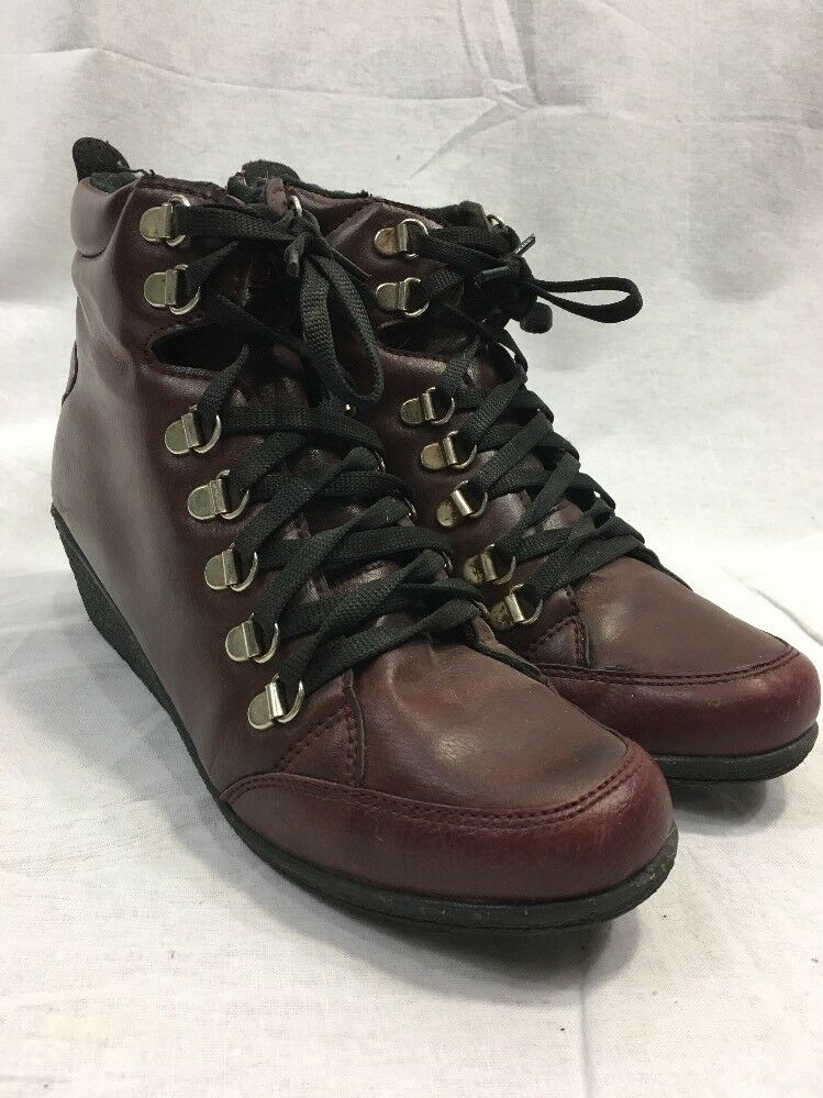 Unbranded Boots Booties Lace Up Side Zip Women 7 Casual shoes Wedge Heel Leather