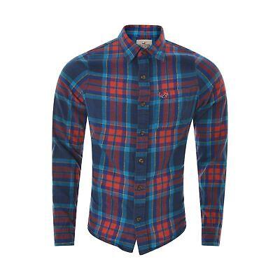 Hollister Camisa Hombre Talla M Rojo Azul Cuadros con