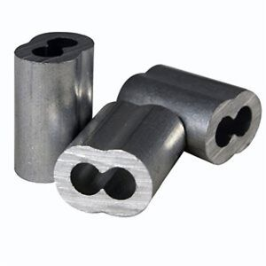 """100 Aluminum Sleeves for Wire Rope Cable, 1/8"""" , Made in USA"""
