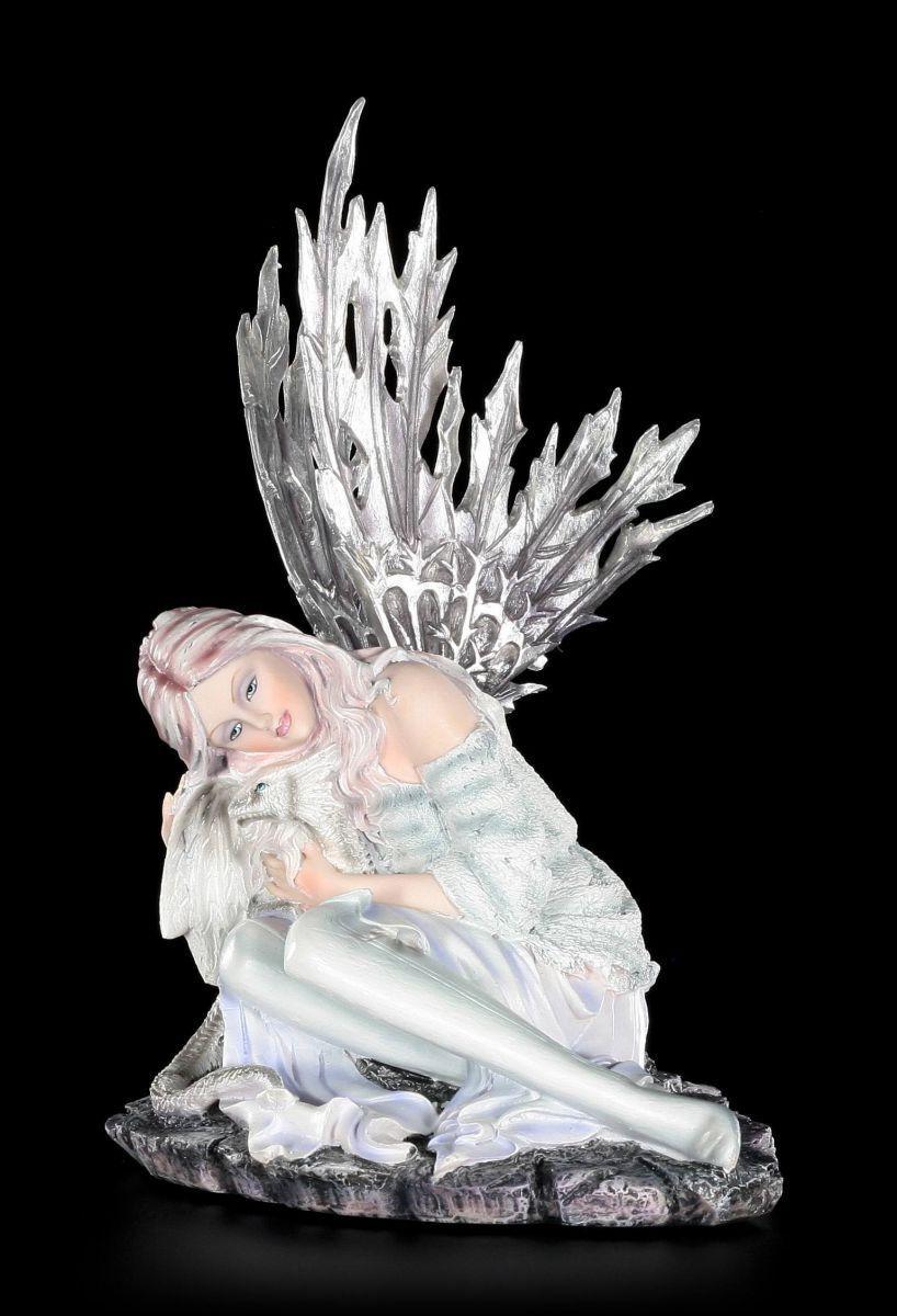 Figura Elfos - Valaria con Drachenjungem en Invierno - Hada Estatua Fairy