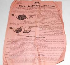 Original 13/1 PREWAR Marklin 20Volt Electric Trains Instructions paper 20/04/30M