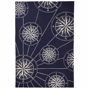 Rugs Mariners Compass Indoor Outdoor Rug 5 X 7 6 Blue
