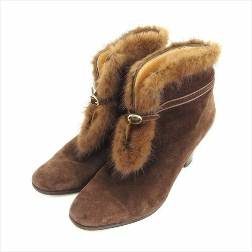 A Testoni boots Brown Suede fur Woman Authentic Used L2649