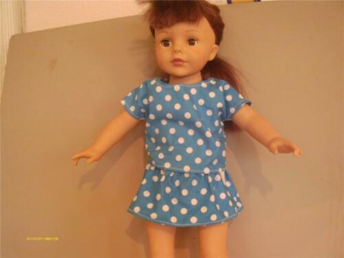 "DOLL CLOTHES AMERICAN GIRL 18/""  SHIRT AND SKIRT SET BLUE WITH DOTS"