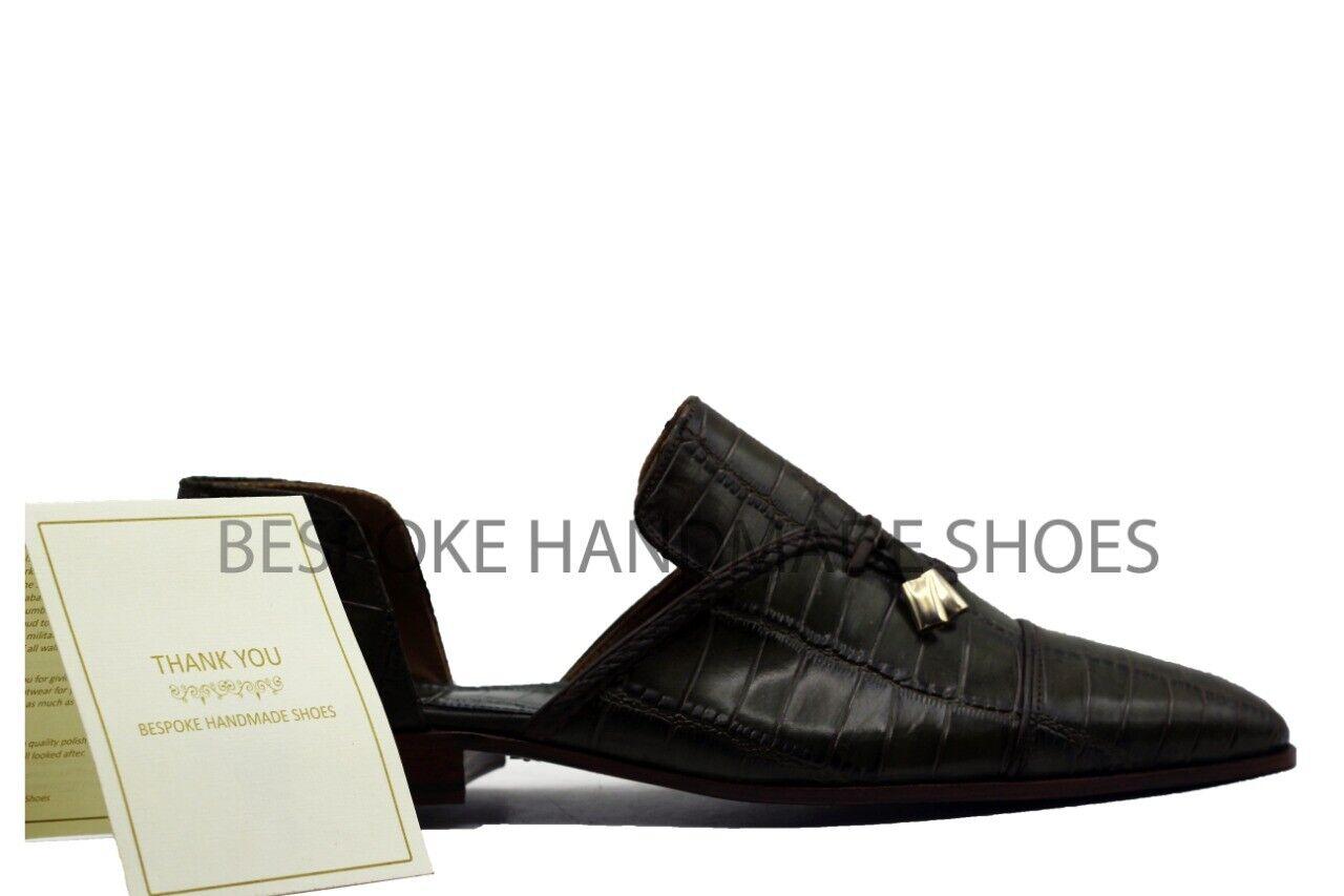 Hombre Cuero Genuino Becerro Hecho a Mano Estampado De Cocodrilo recorte Mocasines Informales Zapatos