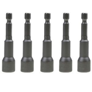 """5x 1//4/"""" Hex Shank Magnetic Nut Socket Driver Set 10mm for Impact Drill Bit"""