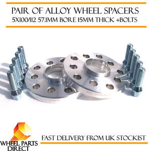 Wheel-Spacers-15mm-2-Spacer-Kit-5x112-57-1-Bolts-for-Audi-A4-B6-01-05