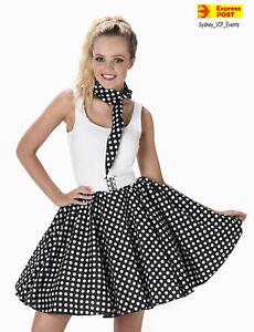 03de517b488 Ladies 1950s Black Polka Dot Skirt   Necktie 50s Adult Fancy Dress ...