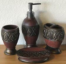 4 Pc Bath Set Toothbrush Holder/Lotion Dispenser/Soap Dish/Cup Tumbler