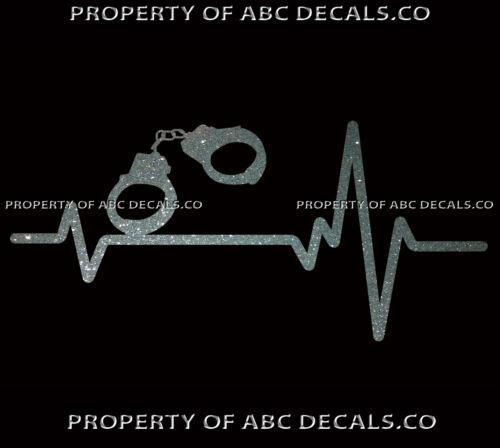 HEART BEAT LINE POLICE OFFICER HANDCUFFS BDSM Cuffs Magic Escape CAR METAL DECAL