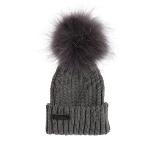 AKA/&Co New Baby Boys Girls Grey Knit Beanie Raccoon Fur Pom Pom Hat SALE