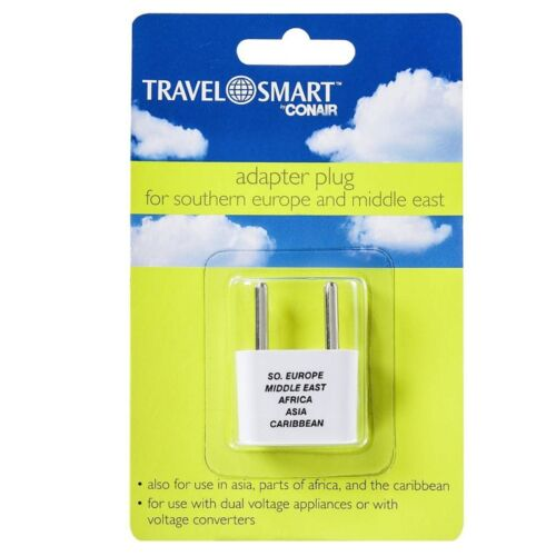Middle East 1 ea Conair Travel Smart Adapter Plug For Southern Europe 2 pack