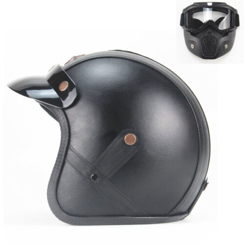 Motorcycle 3//4 Half Helmet /& Mask For Cruiser Scooter Choppers 5 Size UDW