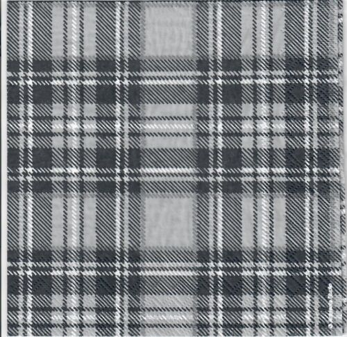 419 Black /& White scottish tartan Design 4 Simple papier DECOUPIS serviettes