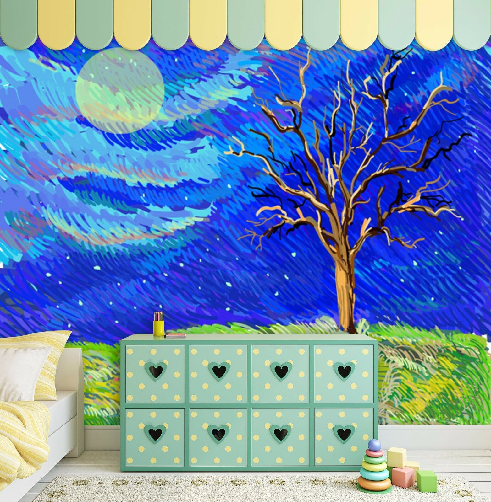 3D bule sky sun Dead tree walll Paper Print Decal Wall Deco Indoor wall Mural