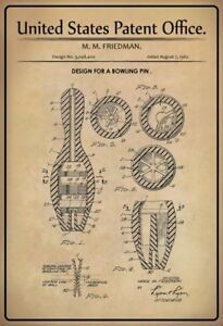 Noi-Brevetto-Bowling-Cono-Pin-1962-Segno-Metallo-Insegna-ad-Arco-Targa-20x-30-Cm