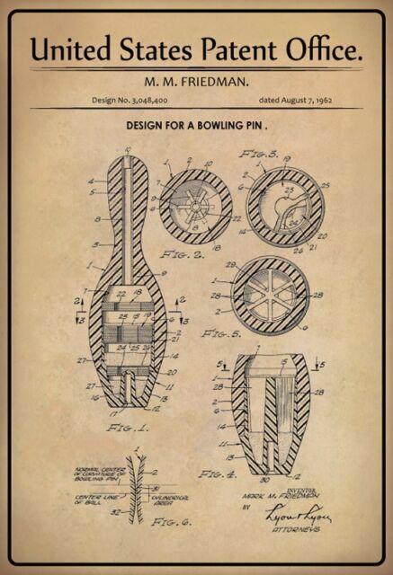 Noi Brevetto Bowling Cono Pin 1962 Segno Metallo Insegna ad Arco Targa 20x 30 Cm