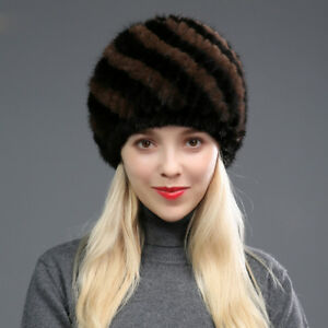 acea27e103680 Image is loading Winter-Women-Natural-Real-Knitted-Mink-Fur-Hat-