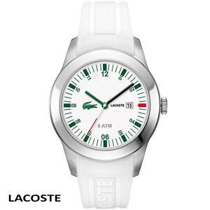 Lacoste-2010627-Advantage-silber-weiss-gruen-Armband-Uhr-Herren-Silikon-NEU