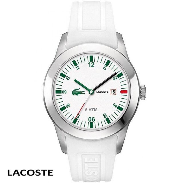 Lacoste . 2010627 . Advantage . silber weiss grün Armband Uhr Herren Silikon NEU