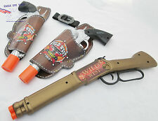 3x Toy Guns Cowboy Silver Peacemaker Revolvers w Holsters & Repeater Rifle Set