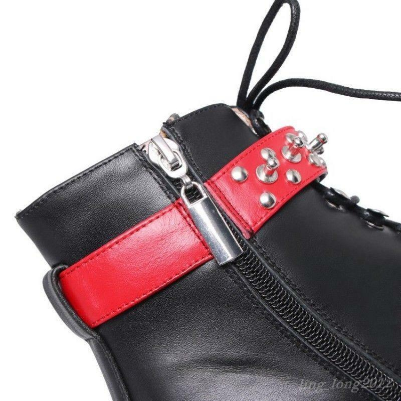 2018 Punk Womens Ankle Ankle Ankle Boots Rivet Lace up Buckle Low heel Real Leather shoes deaa89