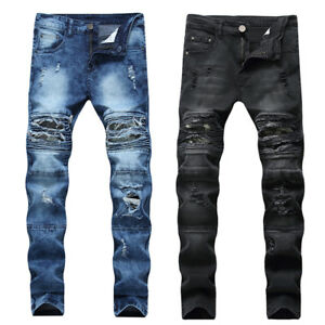 Gohtic-Mens-Distressed-Repaired-Ripped-Patchwork-Jeans-Long-Denim-Trousers-Pants