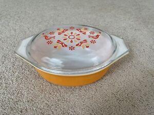 Vintage Pyrex Friendship 1.5 qt Casserole Orange Bottom Clear Lid