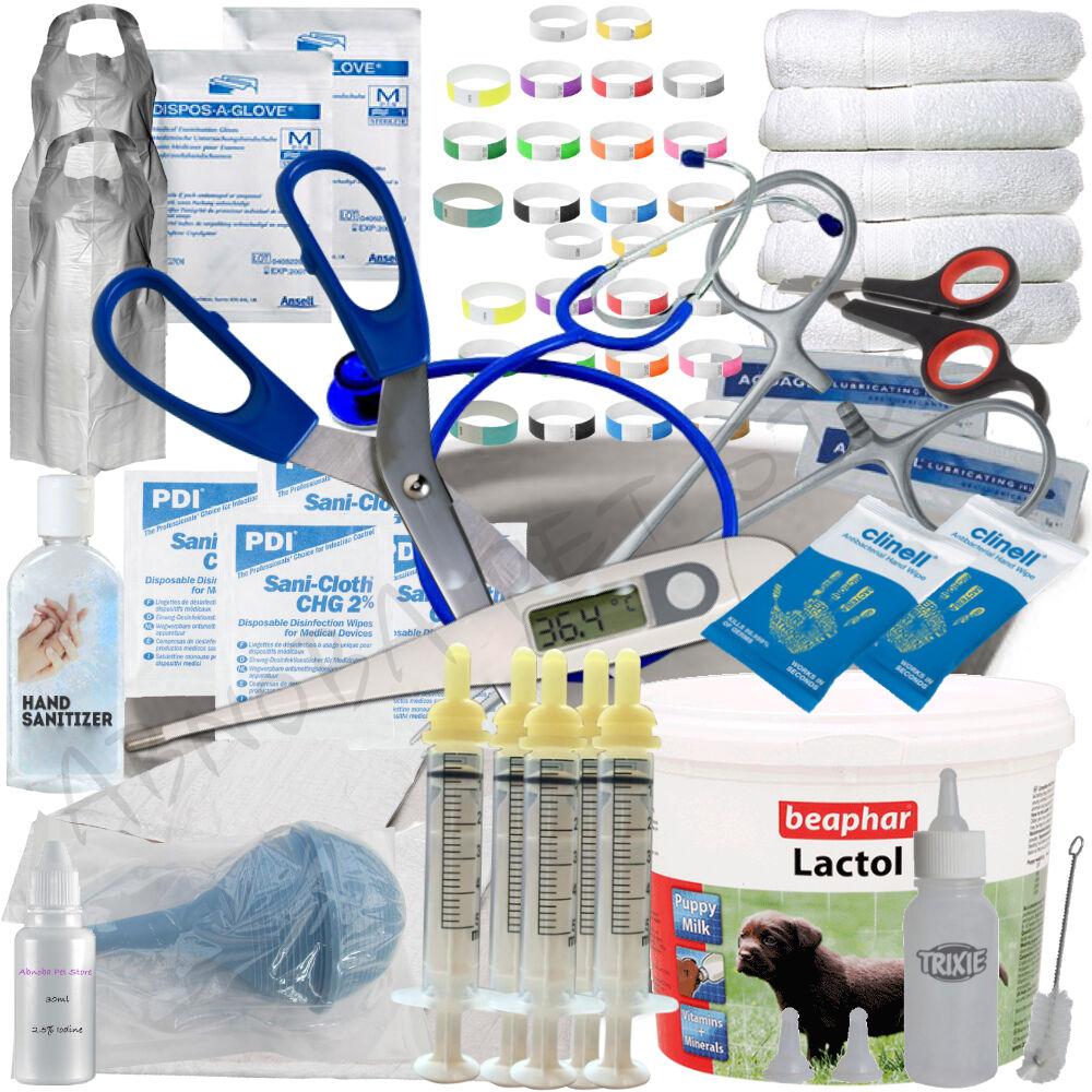 ESSENTIAL Puppy Whelping Kit Beaphar Lactol Milk Bottle Iodine ID Band 62 + Item