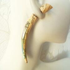 Split Taper Shell Inlaid in Wood Fake Gauge Earrings Faux Plugs Boho Jewelry