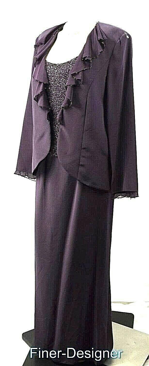 Cameron Blake Mon Cheri formal dress suit Beaded MOB Gown Jacket eggplant 16 NEW