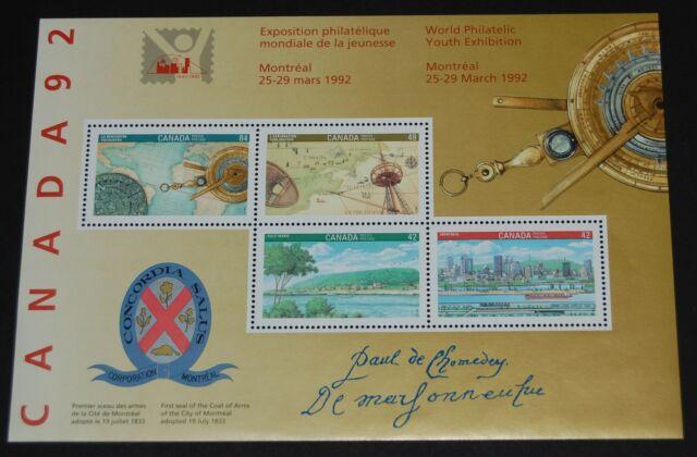 Canada 1992 De Maisonneuve signature souvenir sheet Unitrade #1407ai