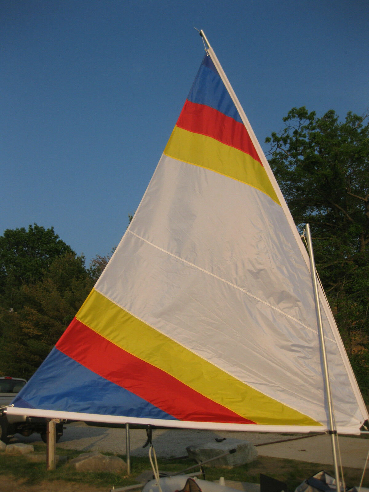 Sail for Snark Sunflower 3.3 -  55 SF - White with Rainbow Stripes - Sail Only