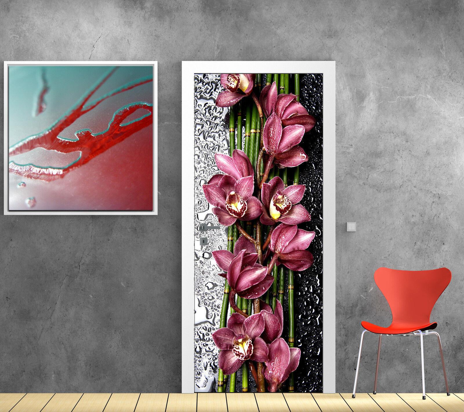 Pegatinas para Puerta Trampantojo Trampantojo Decoración Orquídea Ref 784