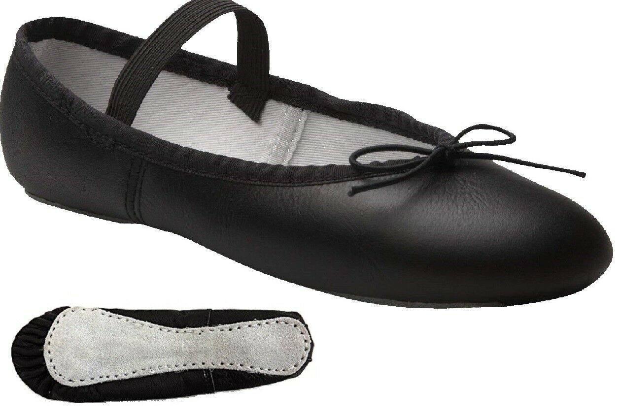 Ballet Shoes Leather Black Full Sole Handmade