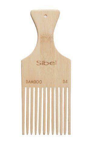 SIBEL Bamboo B4 wooden, Handled Afro comb