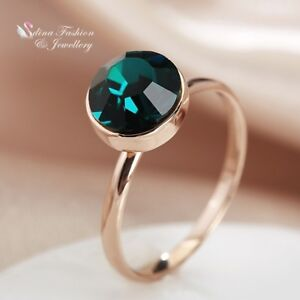 18K-Rose-Gold-GF-Made-With-Swarovski-Crystal-Exquisite-Single-Round-Emerald-Ring