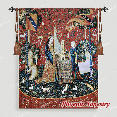 "The Lady & Unicorn Medieval Fine Art Tapestry Wall Hanging - HEARING 54""x42"", US"