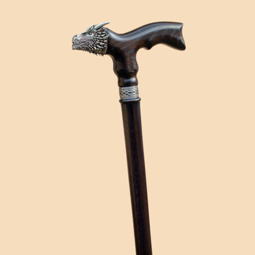 Exclusive Dragon Wooden Walking Cane for Men Fashionable Cool Vintage Wood Canes