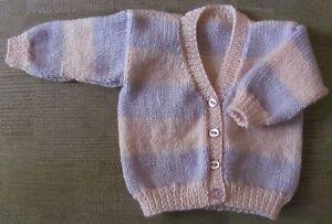 Handknitted-Babies-Cardigan-16-034-chest-Newborn-0-2-months-Boy-Girl-Pink-Lilac