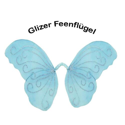 GLITZER FEENFLÜGEL XL für Kostüm Elfe Fee Schmetterling 8216 Set1 Hellblau