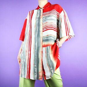 Adaptable Vintage 90 S 80 S Bloc Motif Rouge Blanc Oversize Gris à Rayures Chemisier Shirt Top Xl-afficher Le Titre D'origine