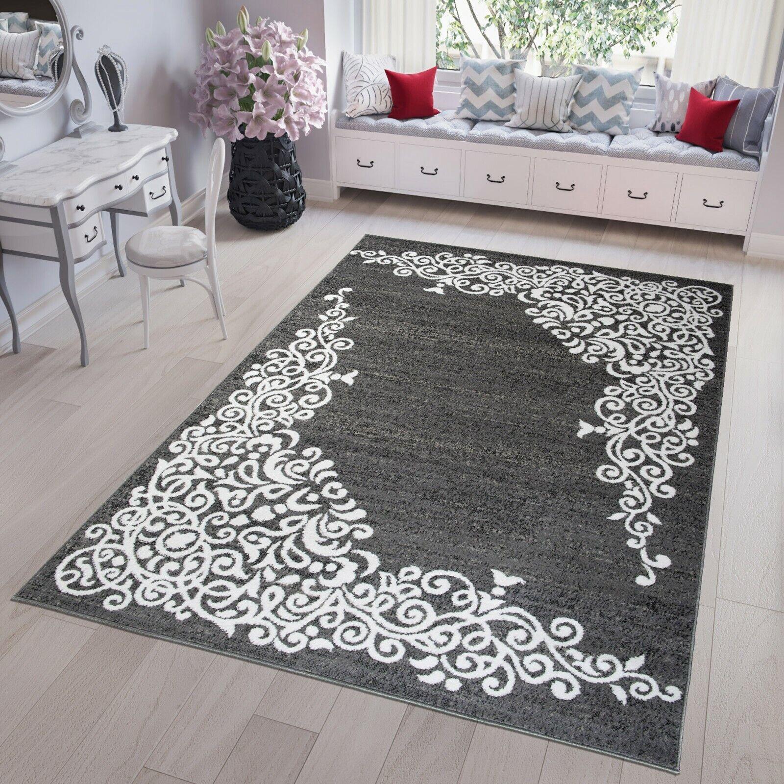 TAPPETO Corto Flor Scuro Grigio Ornament marokkanisch Modern DESIGNER soggiorno