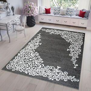 Teppich-Kurzflor-Dunkel-Grau-Ornament-Marokkanisch-Modern-Designer-Wohnzimmer