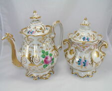 Antique Ornate Rococo Style Porcelain Dolphin Head Spout Coffee Pot & Sugar Jar