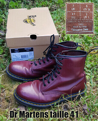 Docs Dr MARTENS taille 41 UK7 cuir bordeaux cherry 1460 smooth | eBay