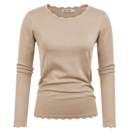 Womens Long Sleeve Scalloped Neck Pullover Sweater Knitting Tops Knitwear