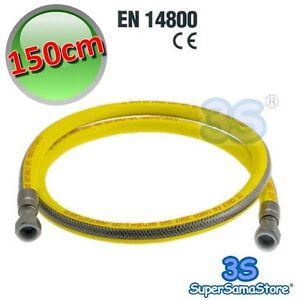 3s tubo acciaio flessibile 150 cm per gas metano gpl cucina 1 2 f f en 14800 ebay - Tubo flessibile gas cucina normativa ...