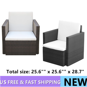 """Outdoor Furniture 1PC Armchair Poly Rattan Chair Patio Seat Wicker  25.6/""""/""""x25.6/"""""""