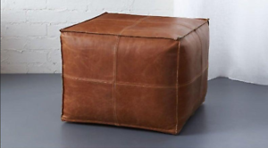 Brown-Pouf-Square-leather-Pouf-Moroccan-pouf-footstool-Valentines-Gift